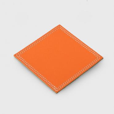 Drinks coaster in Orange leather