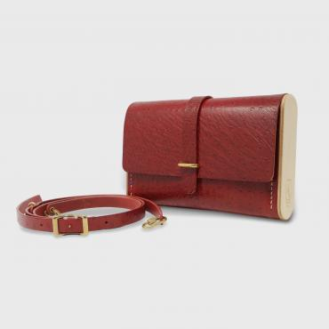 Sac pochette bandoulière rouge autruche Le Strict Minimum 2.0