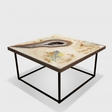Coffee table in enamelled lava
