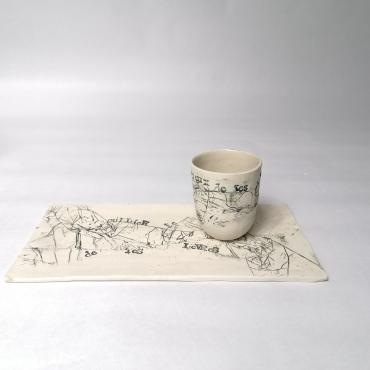 Cup and Tray Les Mots Doux