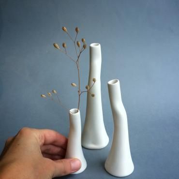 Set of 3 bud vases satins
