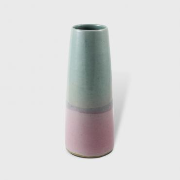 Conical Vase MM celadon and pink
