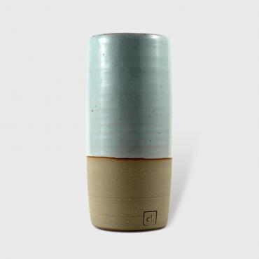 Cylindrical Vase PM celadon - raw clay