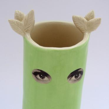 Vase Espionne, green owl, medium