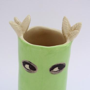 Vase Espionne, green owl, small