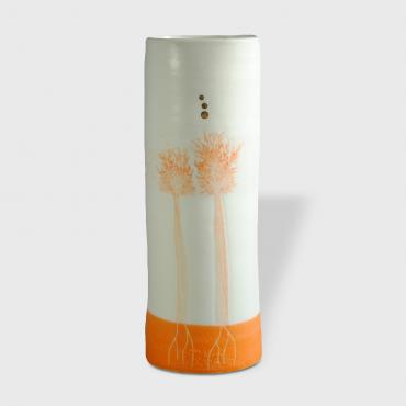 Vase Arbres orange enamelled medium