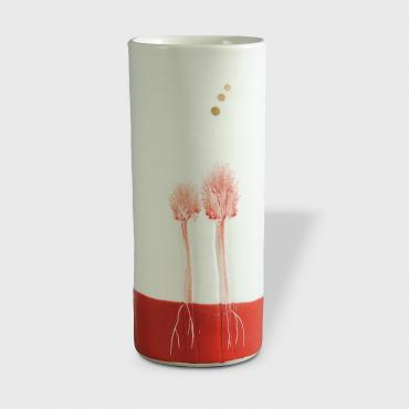 Vase Arbres red enamelled small