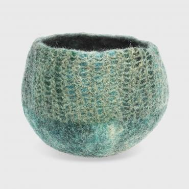 Pot Mesh&felt small Blue/green