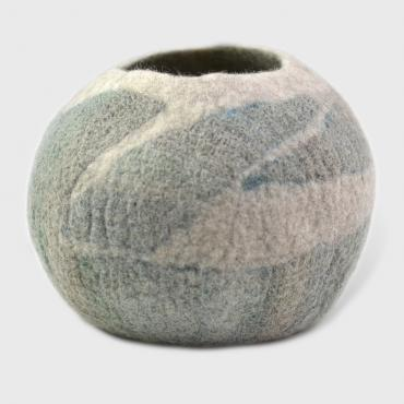 Pot in felt Blue/green XL
