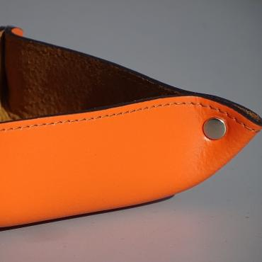 Vide-poche carré en cuir orange