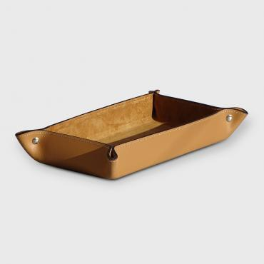 Trinket bowl in camel leather