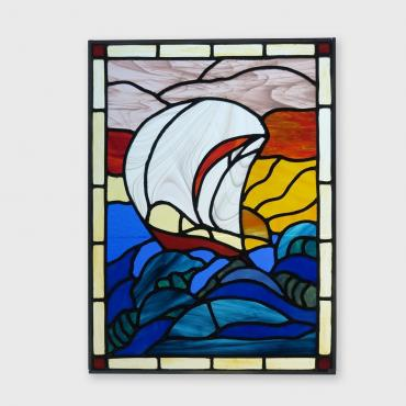 Stained-glass window Voilier dans la mer houleuse