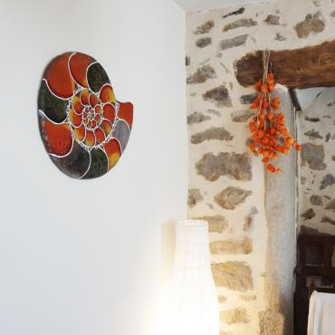Enamelled Lava mural Ammonite