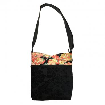 Large shoulder bag Pivoines or