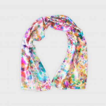 Foulard en soie rectangle Fleur de saison multi