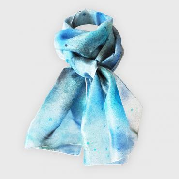 Foulard en soie rectangle Souffle galactique bleu