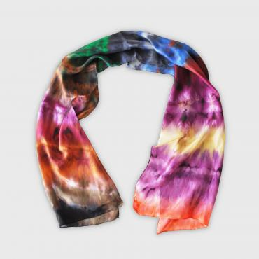 Foulard en soie rectangle Tye and Dye multicolore