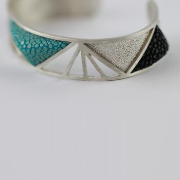 Bracelet Art Déco Silver and Shagreen