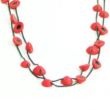 Necklace Lentilles long red and black